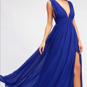 NWT LULU's heavenly hues royal blue maxi - sz s